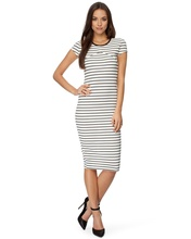 Elegant Figure-hugging fit Mid-length stripe dress