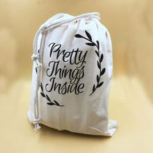 Eco friendly small cotton linen drawstring dust bag with printed logo