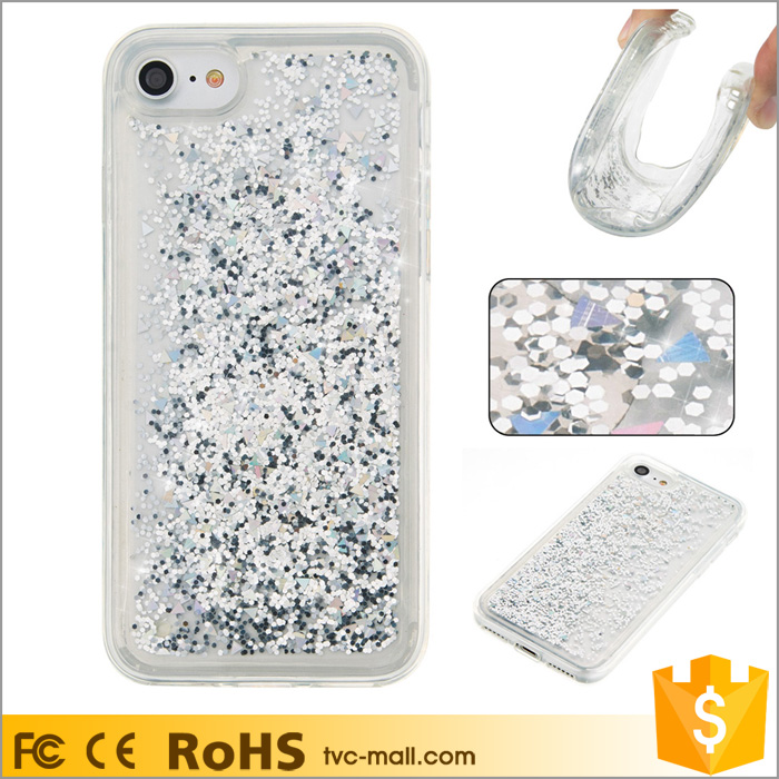 Silver Dynamic Liquid Glitter Diamond Powder Quicksand Case Cover for iPhone 7 4.7 inch