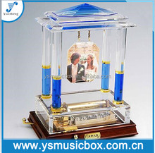 Gift Item Personalized with Printing Blue Crystal Music Box Souvenirs For Wedding favor Party Gifts Music Box