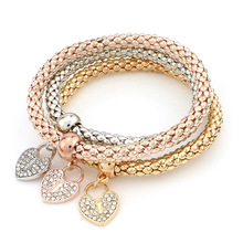 Three Colors Multi-layer Shiny Alloy Bracelet With Crystal Heart Pendant