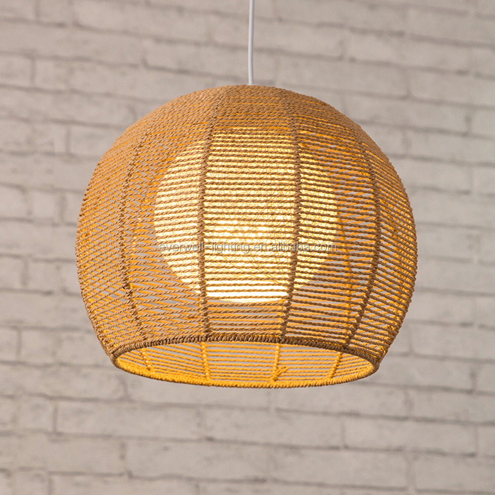Contemporary Rattan Woven Rope Restaurant Pendant Lamp