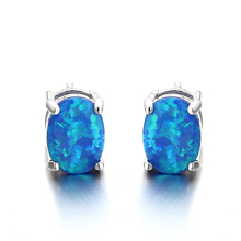 Fancy 925 Silver Blue Synthetic Opal Oval Stud Earrings Jewelry