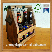 china factory FSC Pine Black Stain Wooden Beverage Holder crate tray with logo printing