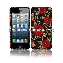 "for apple iphone 5"" case, case for iphone 5, rose design phone case"