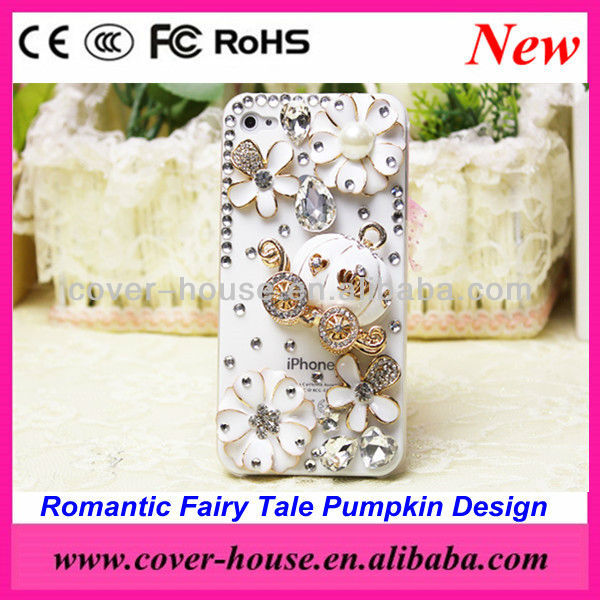 Romantic Fairy Tale Pumpkin design crystal Bing rhinestone case for iPhone 5 and for 4 4S