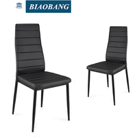 high quality homeuse dinning chair black leather with lines