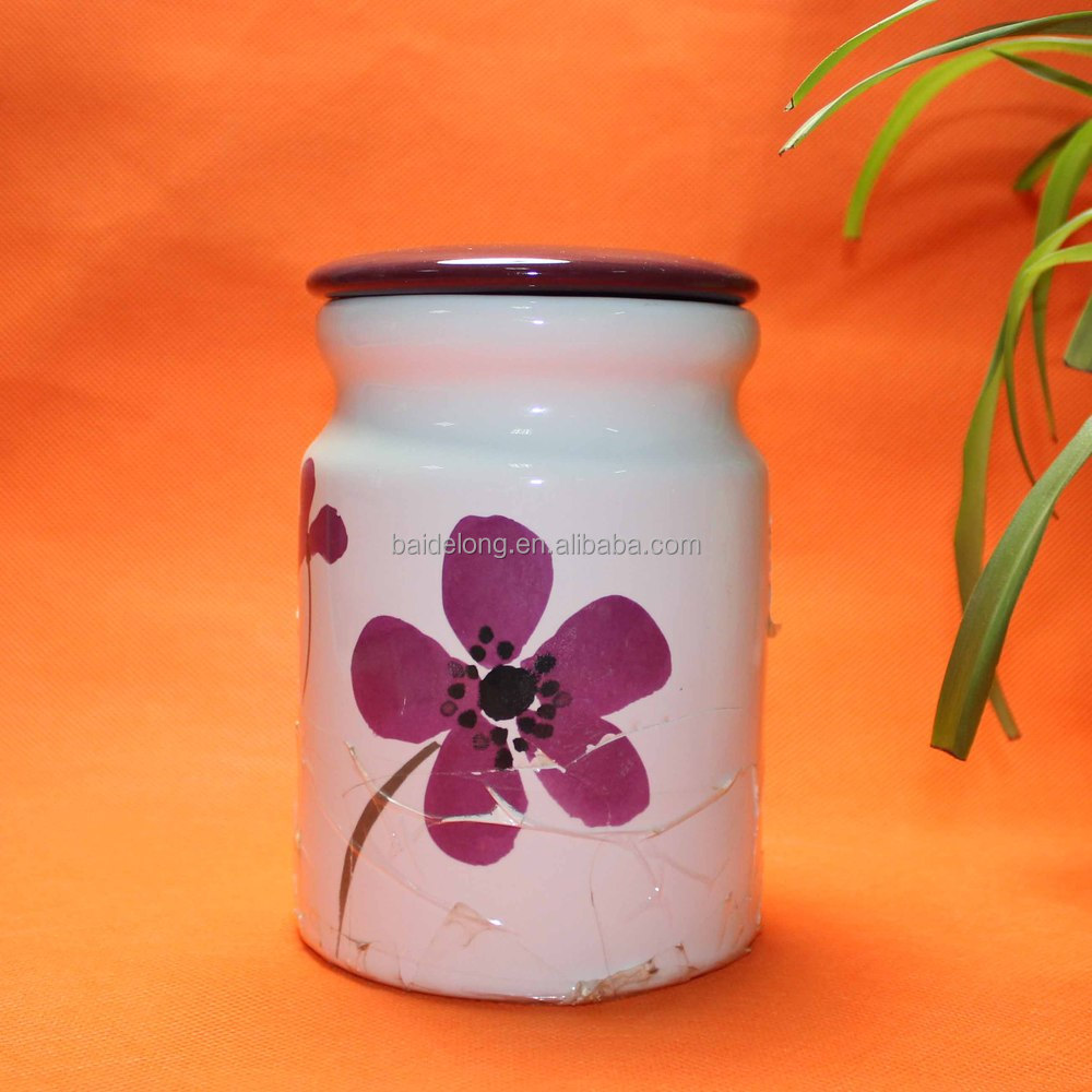 Colorful glazed ceramic canister