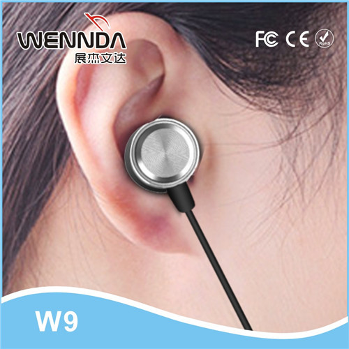 New Bass metal earphones support for samsung phones comfortable wearing hands free Wennda W9