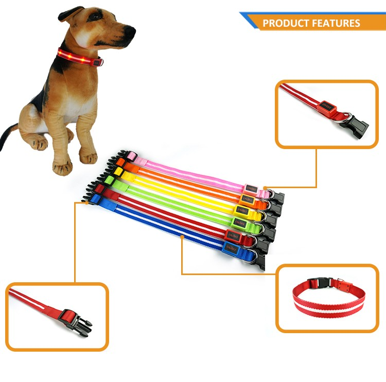 Cheap Products LED Lights Dog Pets Collars Adjustable Polyester Glow In Night Pet Dog Cat Puppy Safe Luminous Flashing Necklace