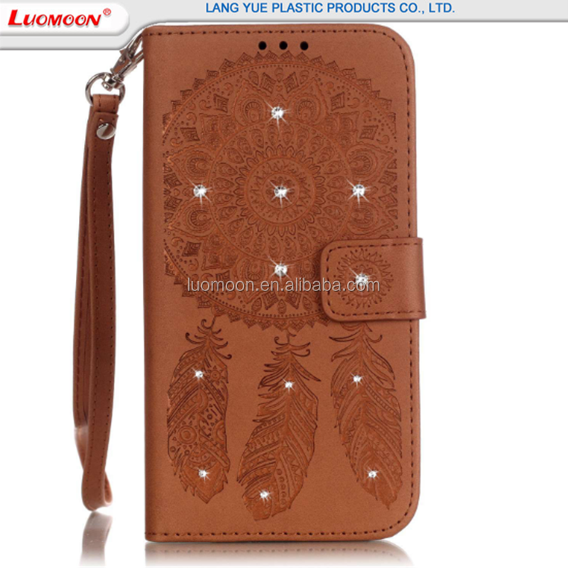 High quality embossing leather wallet cell phone case for LG G5 K7 credit card holder with diamond leather mobile phone case