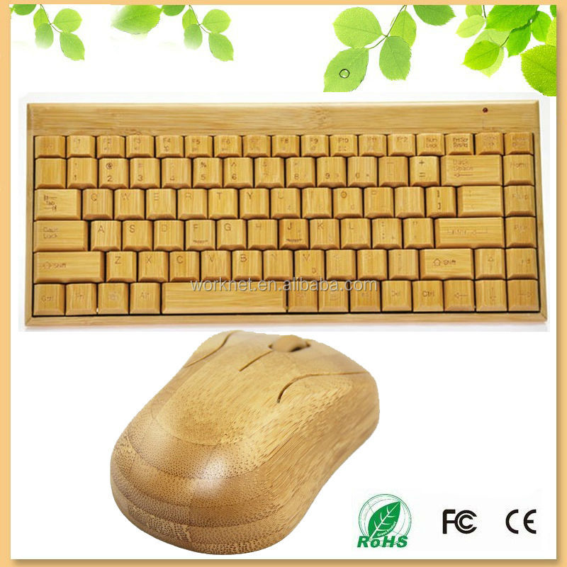 Russian style stand usb mini bamboo wireless keyboard and mouse