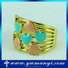 Heart Shape Gold Two Color Heart Setting Gold Ring For Lover Wholesale R0207