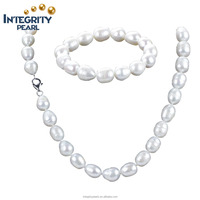 10mm A grade rice shape large size white genuine natural bridal pearl jewelry set