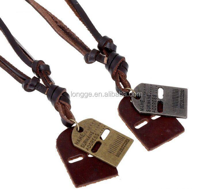 magnetic necklace with Retro men's brand leather necklace alloy letters with Fashion new style