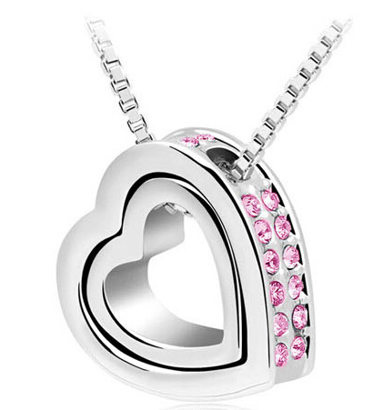 Heart Necklace Women Silver & 18K Gold Plated Jewelry Crystal Necklaces & Pendants Jewellery Valentine's Day And Christmas Gift