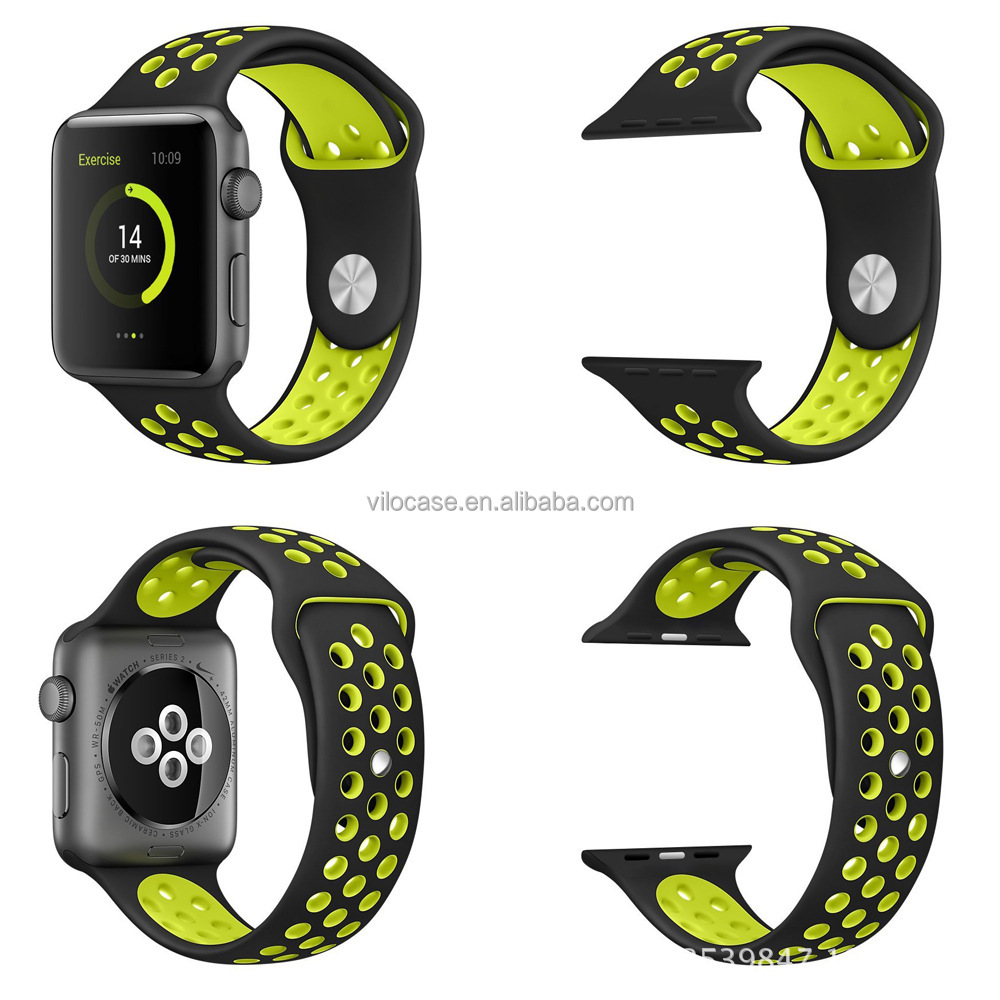Manufacturer Wholesale 38mm 42mm Soft Silicone sport Bands for apple watch nike 1:1 Original