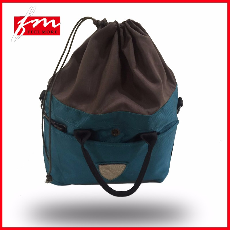 Polyester best travel bags drawstring foldable bag with shoes compartment