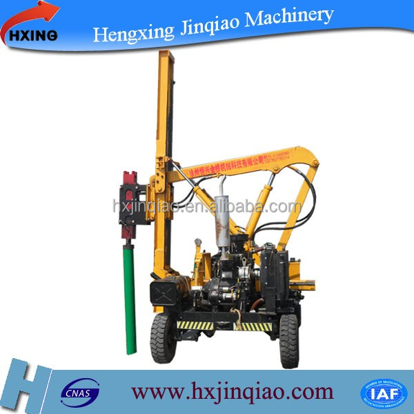 Mini highway guardrail pile driving machine hydraulic for metal posts piling
