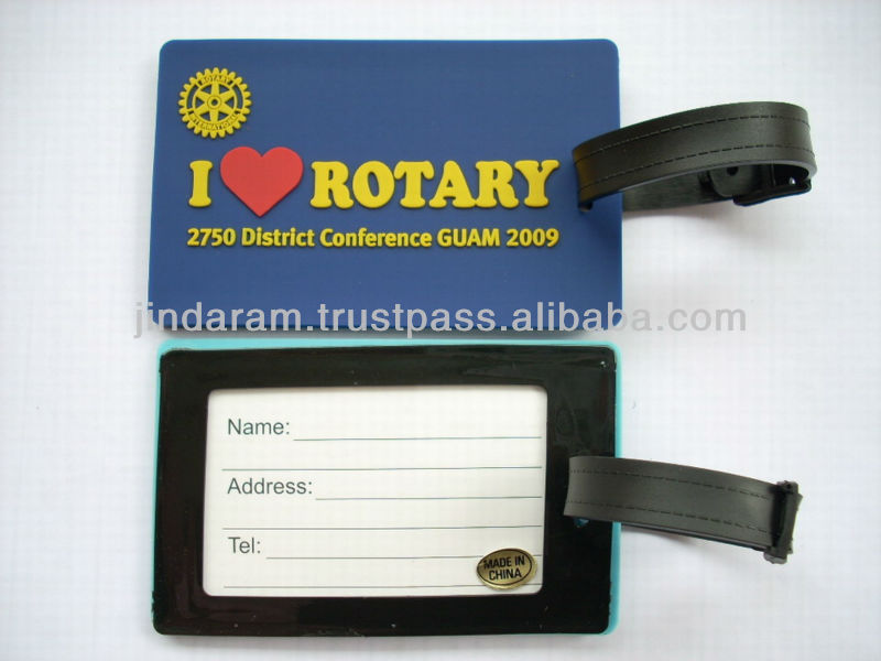 rubber pvc luggage tag with 3D mold logo by customized