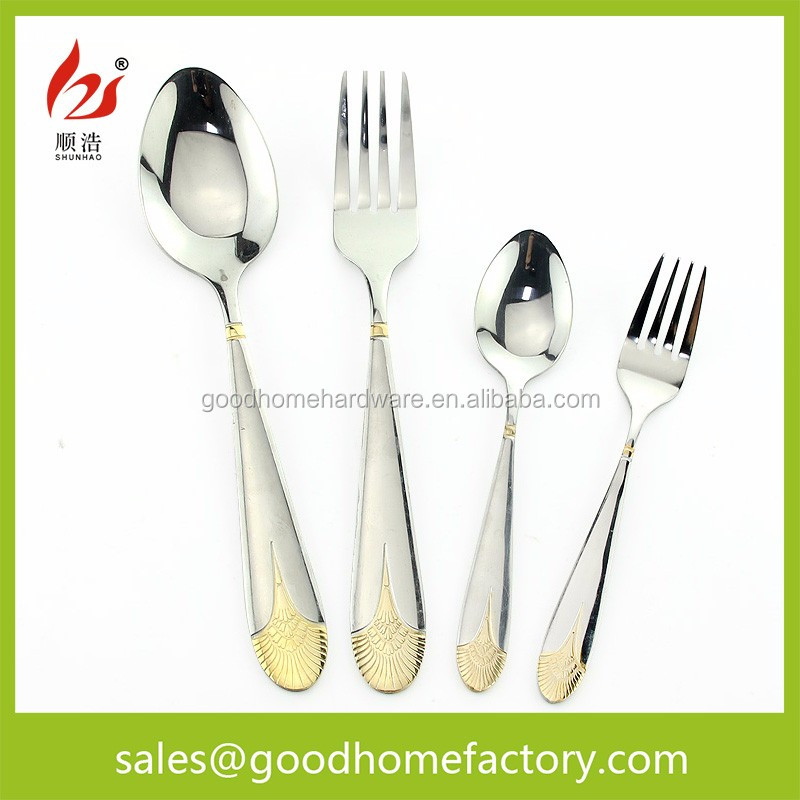 Hot-Sale Products Flatware With Gold Pattern Handle, Dinner Fork & Spoon Set