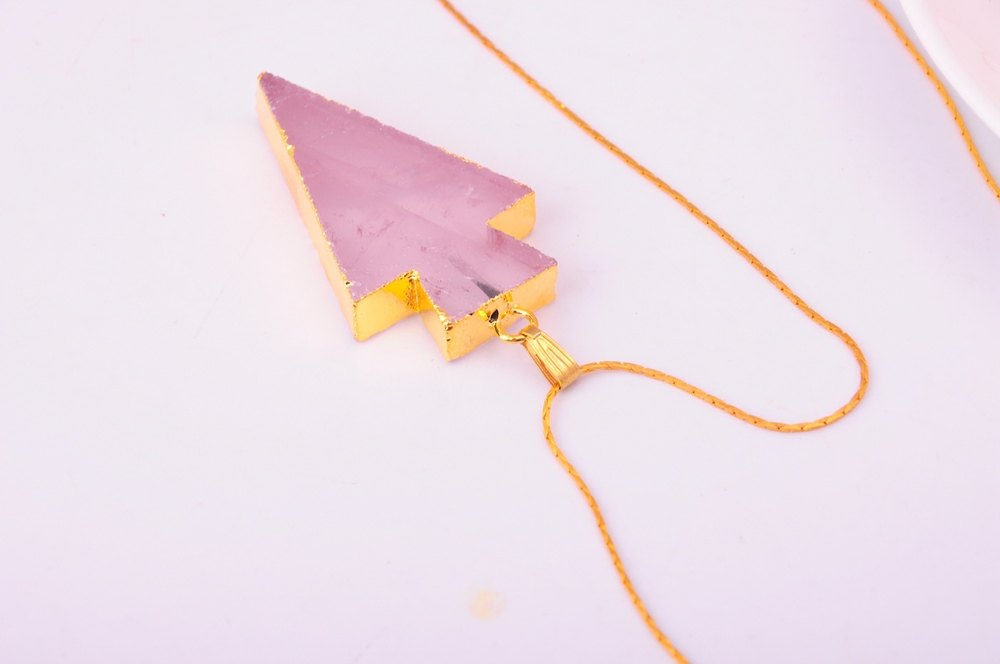 Druzy Amethyst Gemstone Gilding Arrow Pendant Necklace
