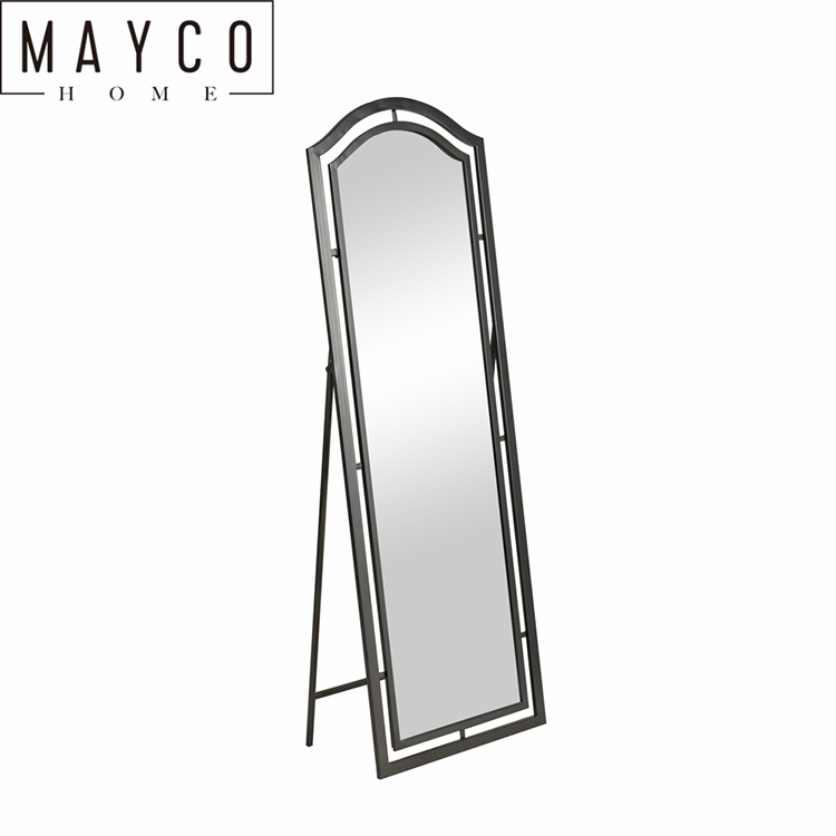 Mayco Silver Frame Leaner Floor Stand Mirror Large Holder