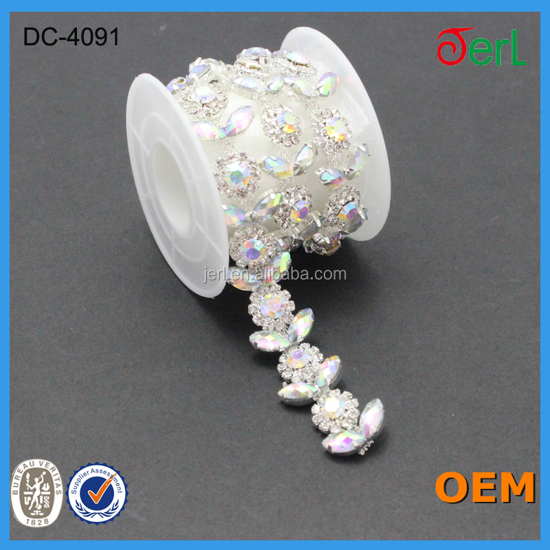 new arrival beaded crystal chain trimming for wedding dress belt designs