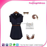 Cheap Elegant dark blue sleeveless blouse women shirt model