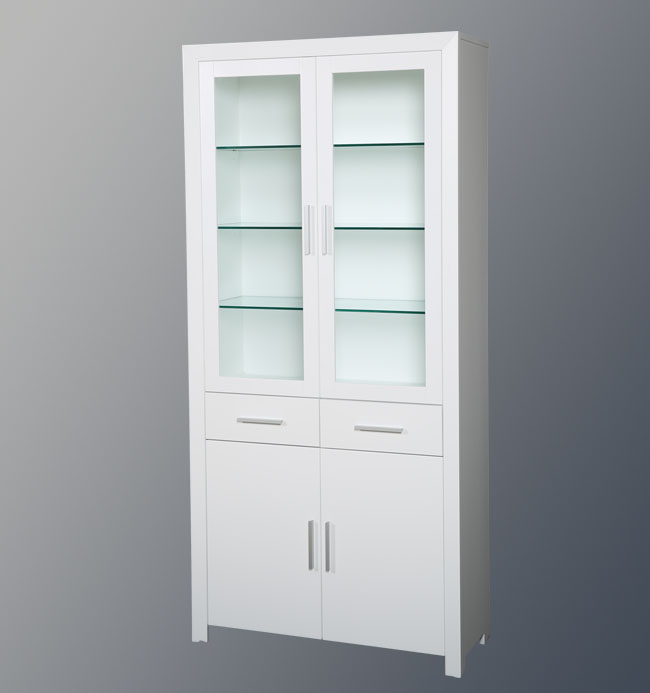 White solid wood jewelry cabinet design with showcase for European