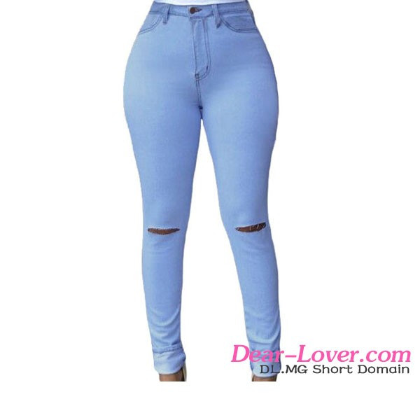 Low Price Zip Closure Ankle Length Tearing Pants Women Jeans