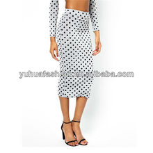 Midi Bodycon Skirt in Spot,long pattern chiffon skirt