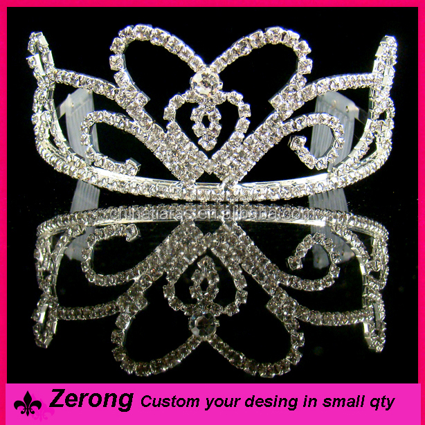 Cheap heart prom crystal tiara and crowns headband tiaras comb