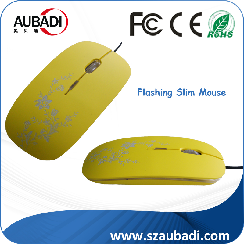 ultra-thin flat USB wired optical mouse,mini gift computer mouse