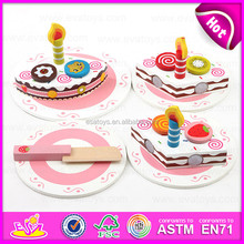 2015 Wooden Toy Birthday Cake for kids,Pretend toy DIY wooden children toy cake set,Funny play wooden cutting cake toy W10B096