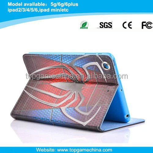 2015 new book style leather case for ipad air/ipad 5 spiderman printing case