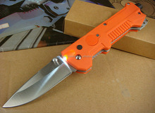 OEM orange rescue outdoor and survival knife with LED flashlight