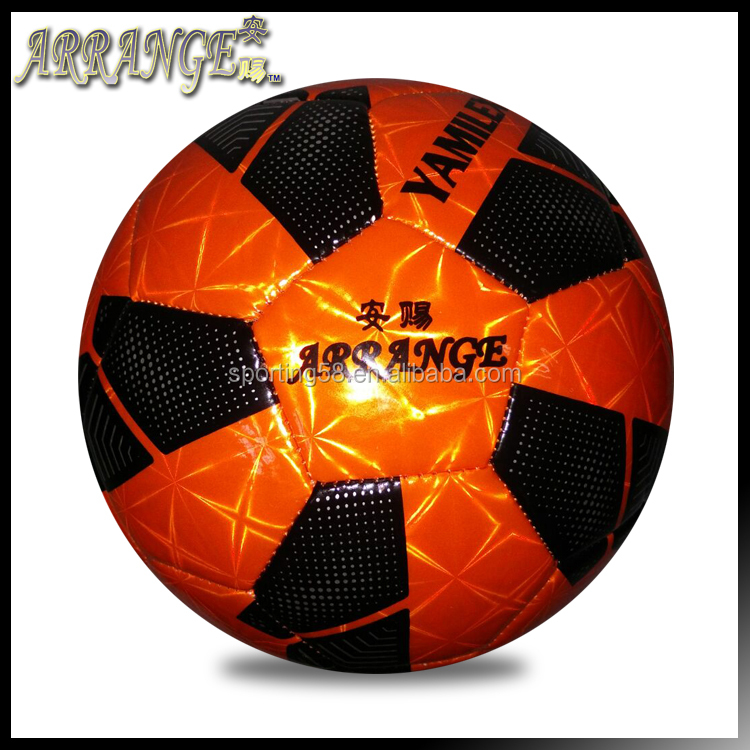 Small Soccer size three ACFB0148P3170 orange laser leather school football ball