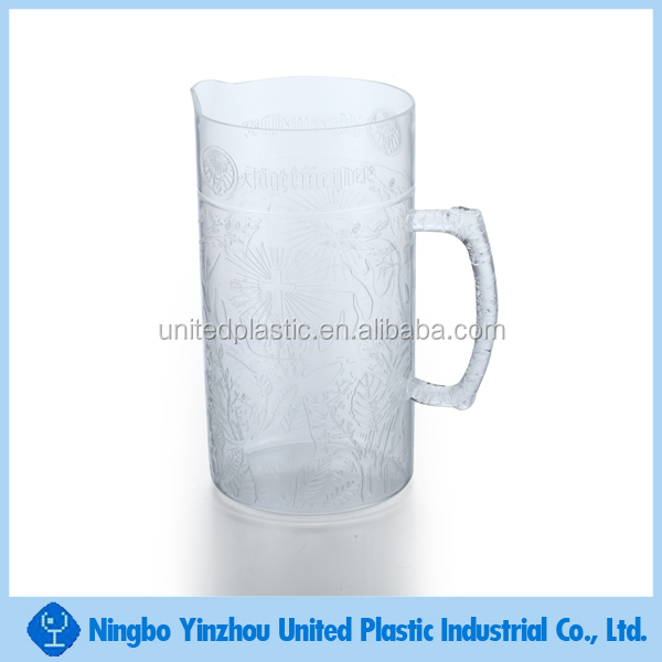 custom design plastic pitcher plastic beer stein with engraved pattern