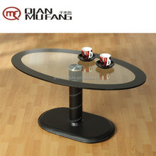 black border top leather covered pillar Scoop coffee table