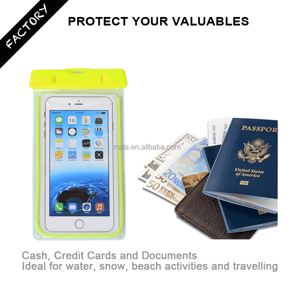 Universal Waterproof Case Bag Pouch Phone for Samsung Galaxy Grand Prime with IPX8 certificated to 25m (up to 5.5' inches)