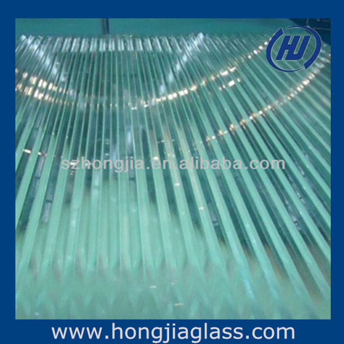 Clear reeded glass with different design
