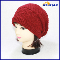 HZM-14094003 100% Acrylic Slouch red long women winter man hat/knitted beanie