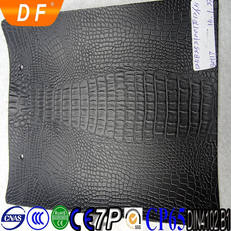 Black snake pattern PVC leather for laptop cover