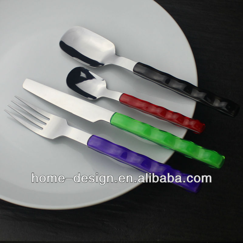 plastic vivid bright colored handle student spoon fork knife