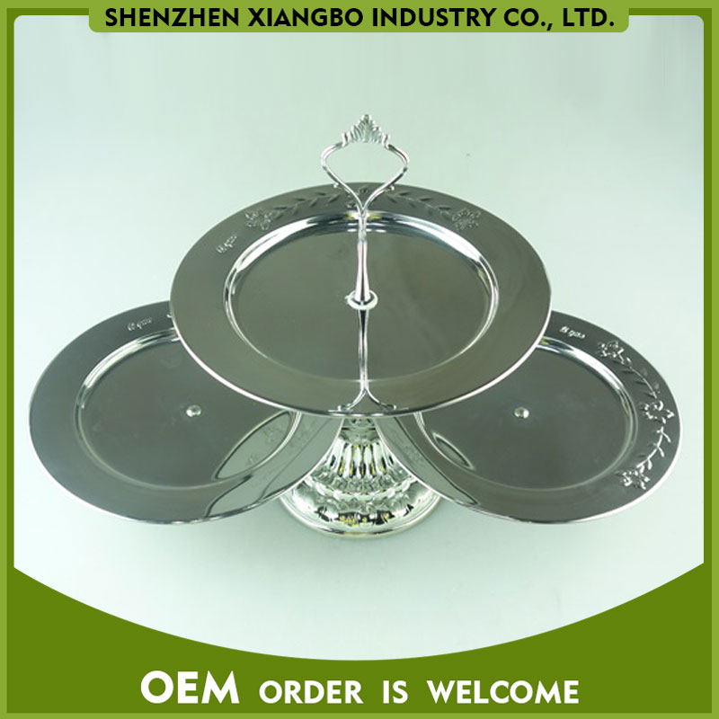 Fashion design 3 tier stainless steel cake stand/silver cake plate DC015003