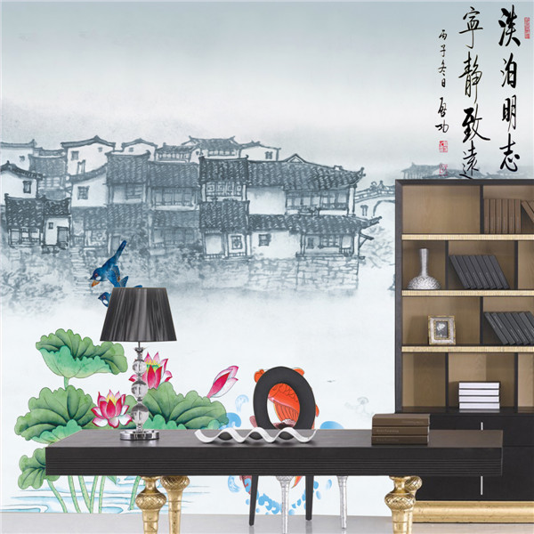 Chinese ancien building landscape painting wall murals for for Chinese wall mural