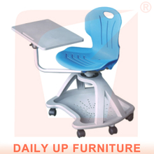 University Chair with Casters Right Left Hand Switchable Plastic Training Node Chair with Tablet Movable Chair with Writing Pad