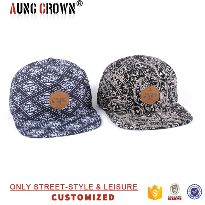 customize small order printing pattern snap back cap