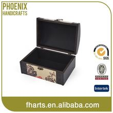 Factory Price Customized Oem Mini Wooden Treasure Chest Jewelry Box